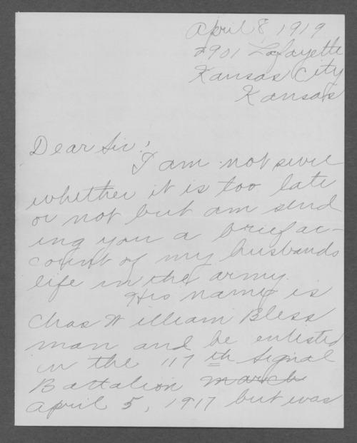 Charles William Blessman, World War I soldier - Page