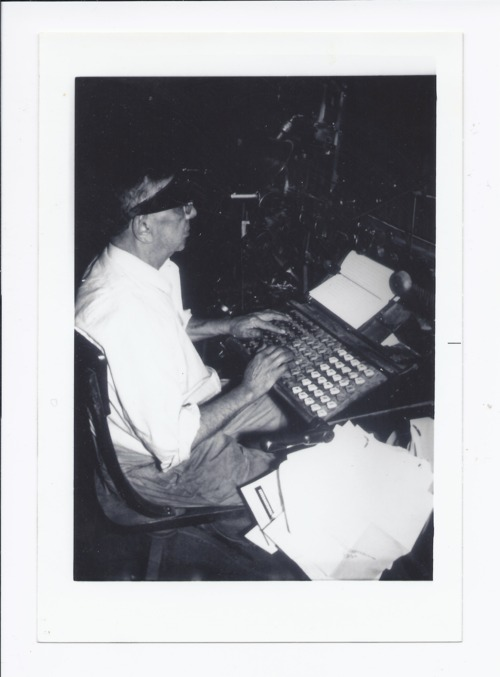 Peter Navarre at a linotype machine, Rossville, Kansas - Page
