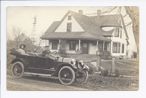 Mr. and Mrs. Henry H. Miller in an automobile, Rossville, Kansas - Page