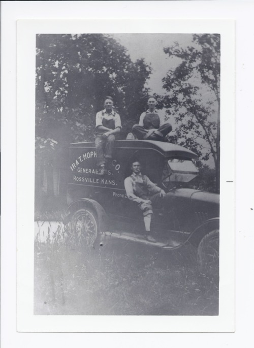 Ira T. Hopkins' delivery truck with Orbie Binney, Rossville, Kansas - Page
