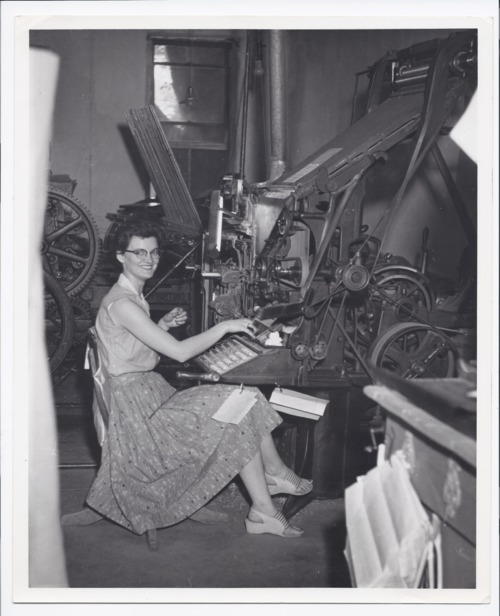 Betty Murray at the Shawnee County Reporter's linotype, Rossville, Kansas - Page