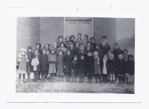 Group of people in front of Presbyterian Church, Rossville, Kansas - Page