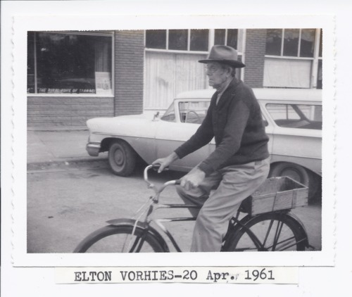 Elton Vorhies riding his bike, Rossville, Kansas - Page
