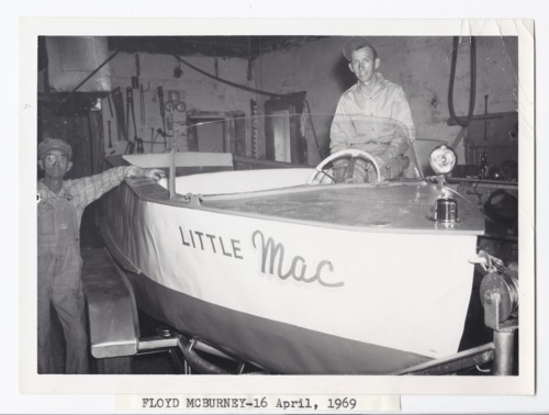 Floyd McBurney with boat, Rossville, Kansas - Page
