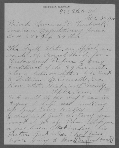 Lawrence V. Timbrook, World War I soldier - Page