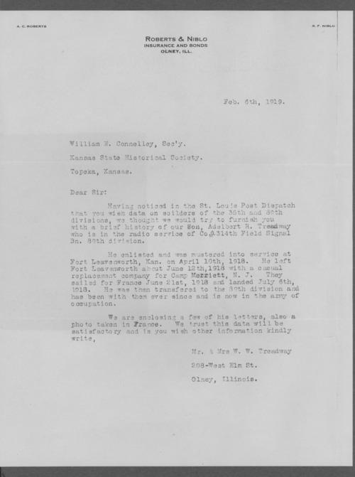 Adelbert R. Treadway, World War I soldier - Page