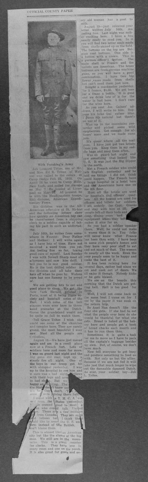 Job Leonard Trites, World War I soldier - Page