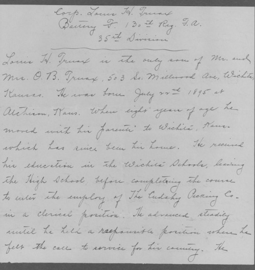 Louis H. Truax, World War I soldier - Page