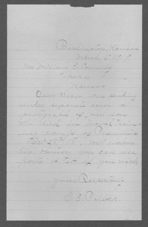 Delbert T. Pollock, World War I soldier - Page