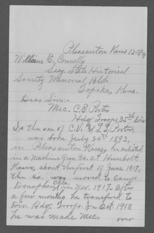 C.E. Porter, World War I soldier - Page