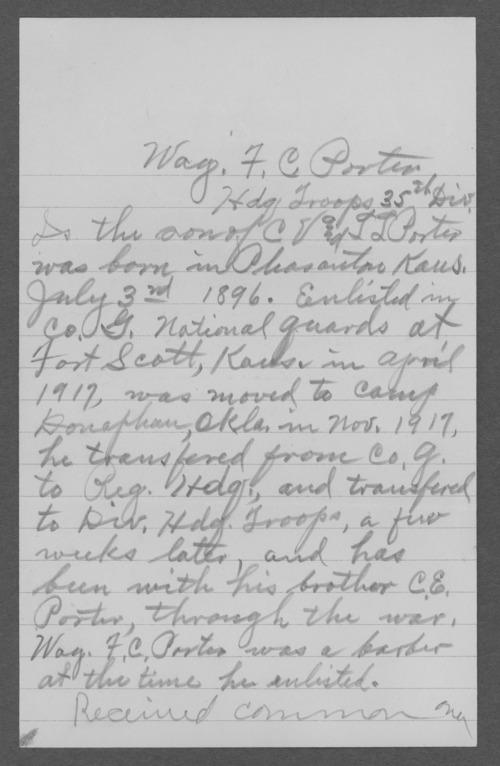 F.C. Porter, World War I soldier - Page