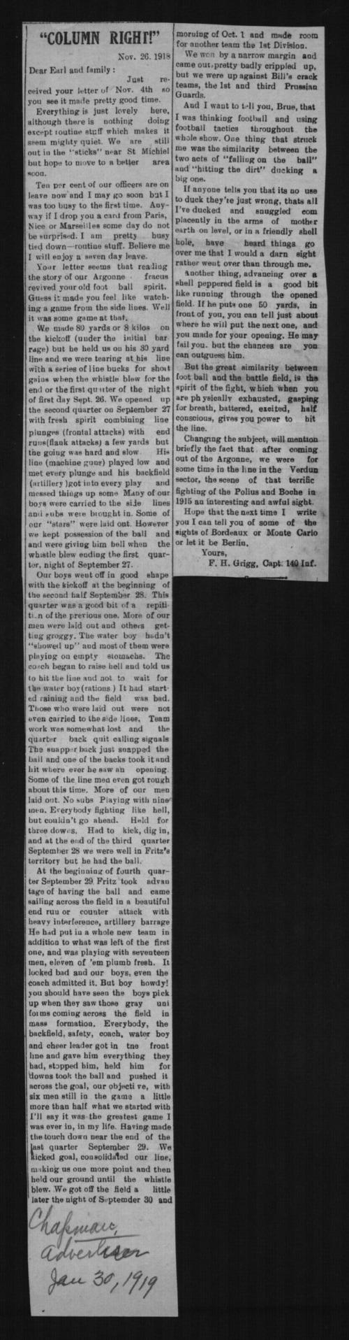 F.H. Grigg, World War I soldier - Page