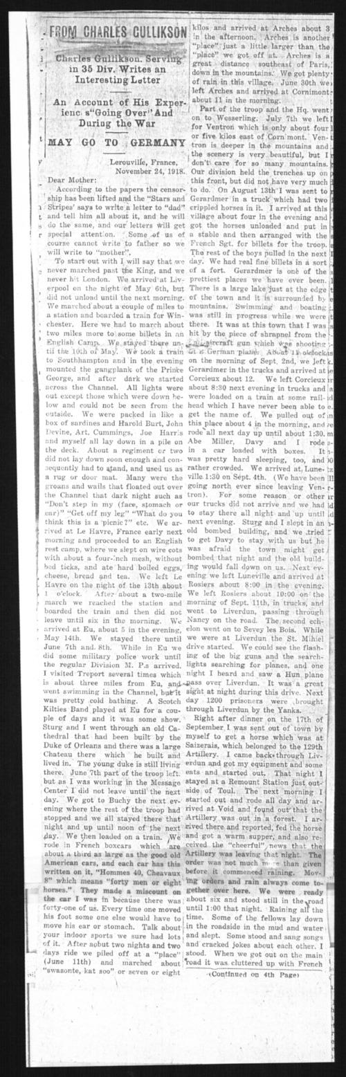 Charles M. Gullikson, World War I soldier - Page