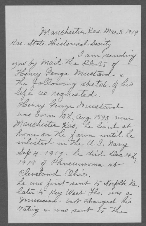 Henry George Mustard, World War I soldier - Page