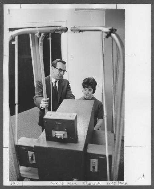 Riley Gardner, Ph.D. conducting a test at the Menninger Foundation, Topeka, Kansas - Page
