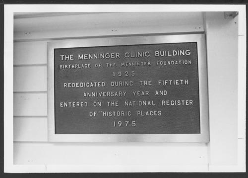 Menninger Clinic plaque, Topeka, Kansas - Page