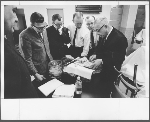 Psychiatrists studying a brain at the Menninger Clinic, Topeka, Kansas - Page