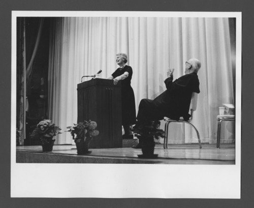 Anna Freud lecturing at the Menninger Clinic, Topeka, Kansas