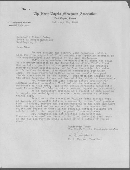 H. K. Harper to Representative Albert Cole - Page