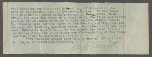 Reminiscences of early Lawrence, Kansas settlement - Page