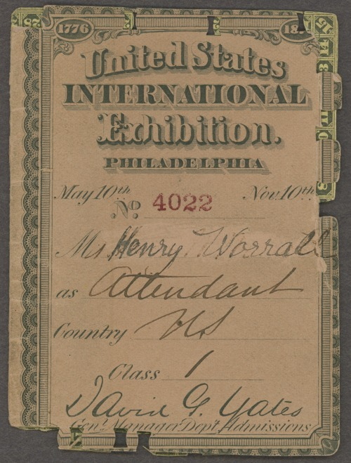 Henry Worrall United States International Exhibition ticket - Page