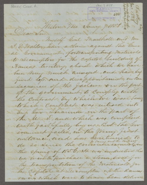 Lecompton capitol building correspondence - Page