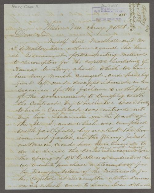 Lecompton capitol building correspondence - Page