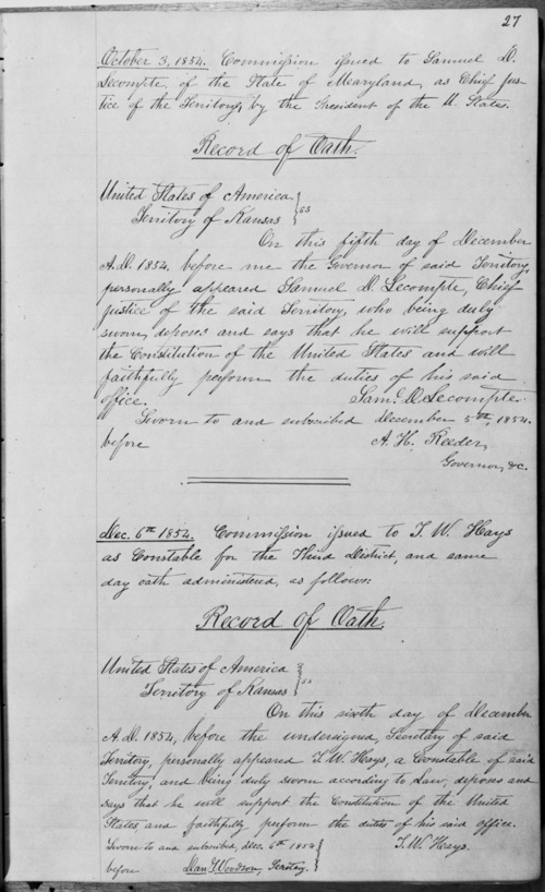 Samuel D. Lecompte's oath of office - Page