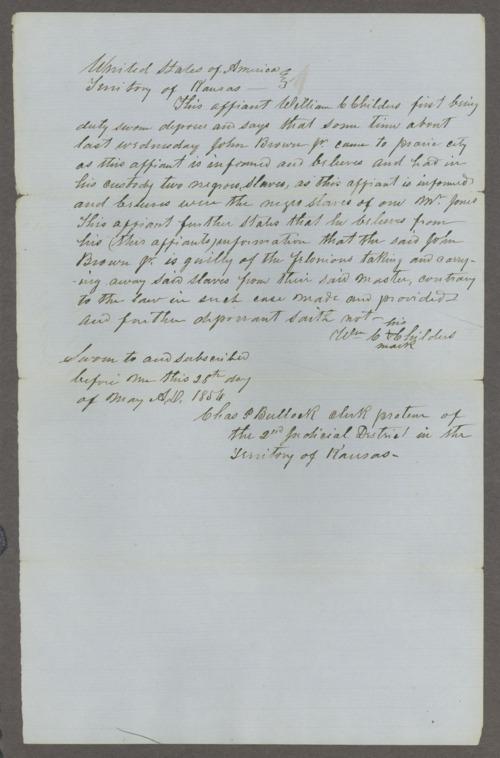 Kansas Territory, U.S. District Court affidavit on John Brown, Jr. taking slaves - Page