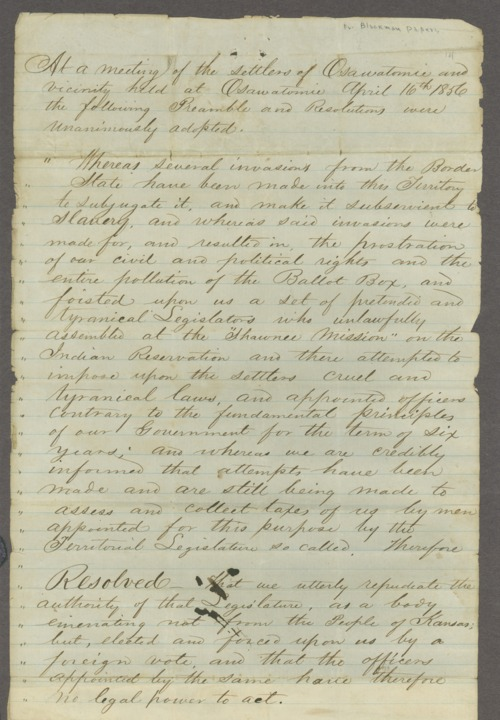 Kansas Territory, U.S. District Court versus John Brown and others for treason - Page