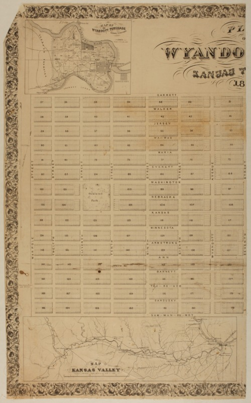 "Plan of ""Wyandott"" City, Kansas Territory - Page"