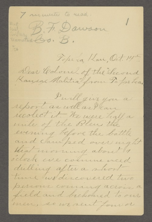 B.F. Dawson to Colonel of the Second Kansas militia - Page