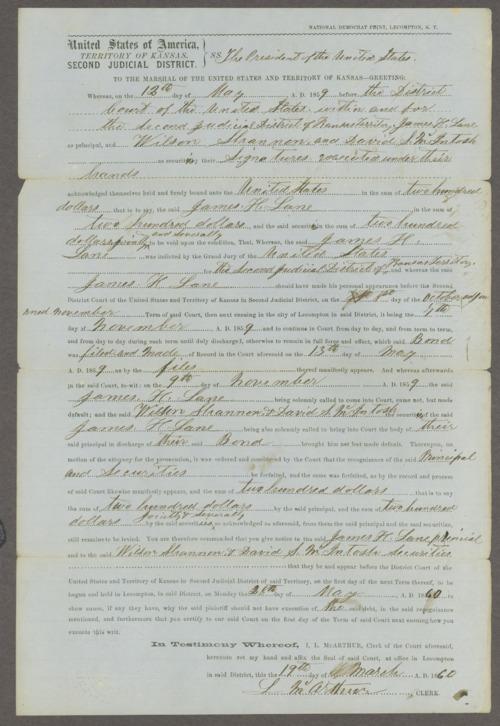 Kansas Territory, U.S. District Court, 2nd District versus James Lane, Wilson Shannon, and David S. MacInosh - Page