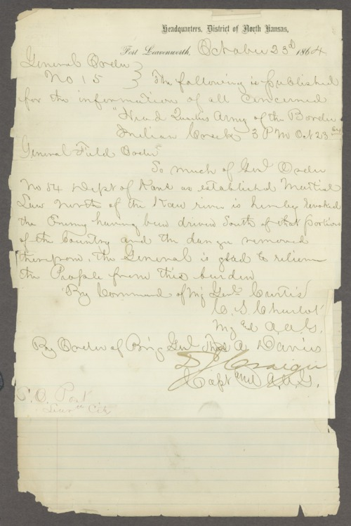 General order number 15, issued by Major General Samuel Curtis and others - Page