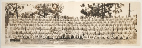 Two panaromic photographs of military groups:  Company A, 130th Field Artillery, 35th Division, World War I and one from World War II taken in Columbus, Georgia. - Page