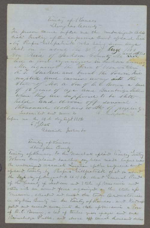 Kansas Territory, U.S. District Court versus General John W. Reid - Page