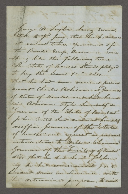 U.S. District Court, 1st and 2nd District, Kansas Territory, versus Charles Robinson for usurpation of office - Page