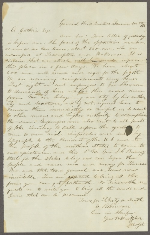 Charles Robinson to A. Guthrie, Esq - Page