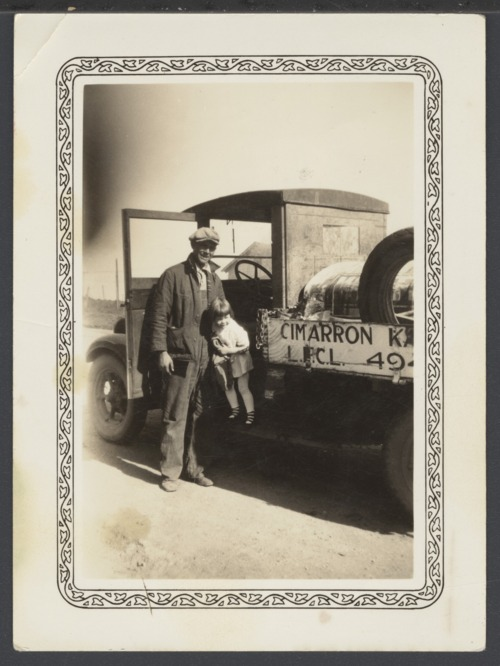 Earl and Shirley Anne Burgess with a Mobil Oil Company truck in Cimarron, Kansas - Page