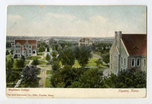 Postcard, Washburn University Campus, Topeka, Kansas