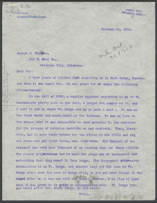 G. M. Dodge to Joseph B. Thoborn - Page