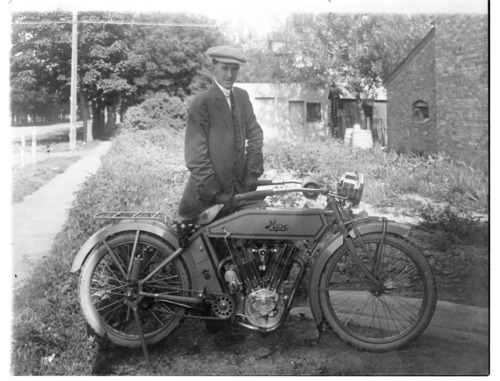 Phil Zimmerman with a Pope motorcycle, Lindsborg, Kansas - Page