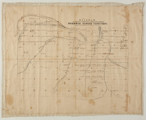 Diagram of occupied and unoccupied claims in the vicinity of Wabaunsa, Kansas Territory - Page