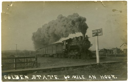 Golden State Limited, first extra-fare train, steams through Alma at 60 miles per hour.  Postcard from 1908. - Page