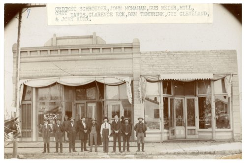 Front of Hickory Jones's tobacco store, 224 Missouri Street, Alma, Kansas - Page