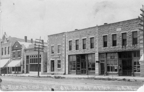 View of 300 block of Missouri Street, Alma, Kansas, about 1910. - Page