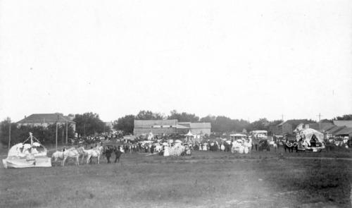 Parade participants at the end of Missouri Street,  Alma, Kansas - Page