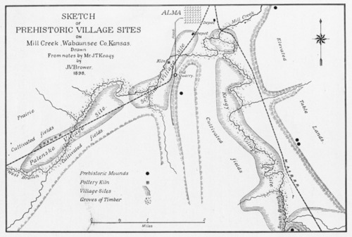 Sketch of prehistoric village sites on Mill Creek, Wabaunsee County - Page