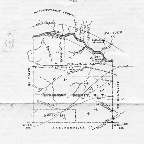 1855 map of Richardson (Wabaunsee) County, Kansas - Page