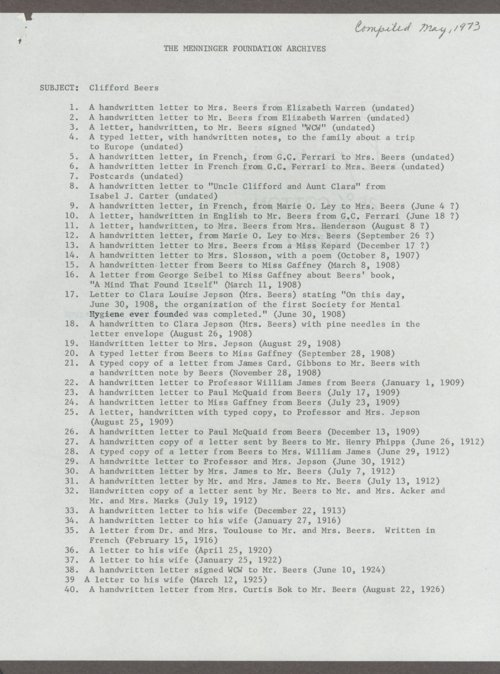 Clifford W. Beers papers - Page